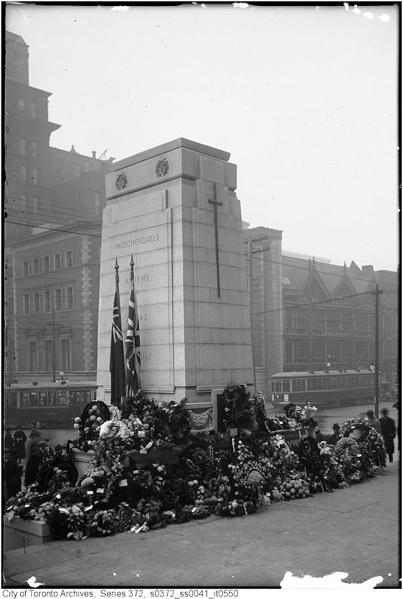 1925 - Nov 11 - Cenotaph, City Hall - from north east two street cars on Queen Street in background