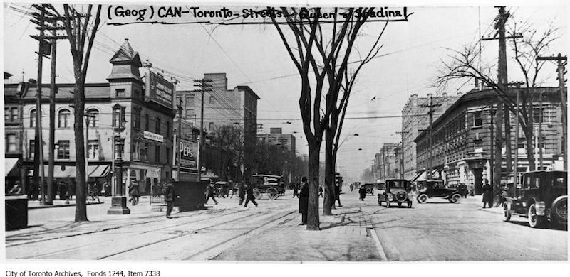 1926 - Spadina Avenue at Queen Street, looking north