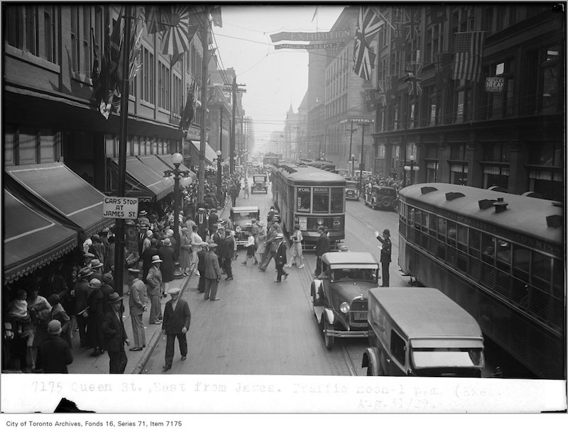 1929 - Aug 31 - Queen St, east, from James, traffic, noon
