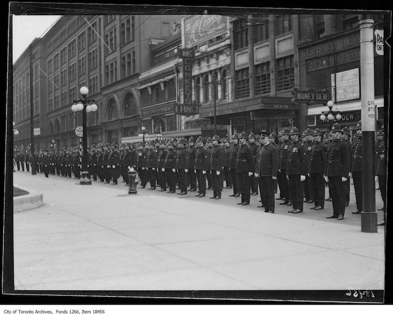 1929 - Oct 20 - Police parade, line of police on Queen Street