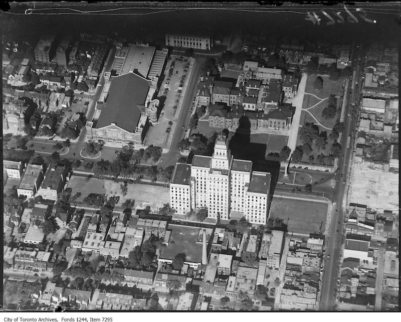 1930 - Aerial view of University Avenue and Queen Street West