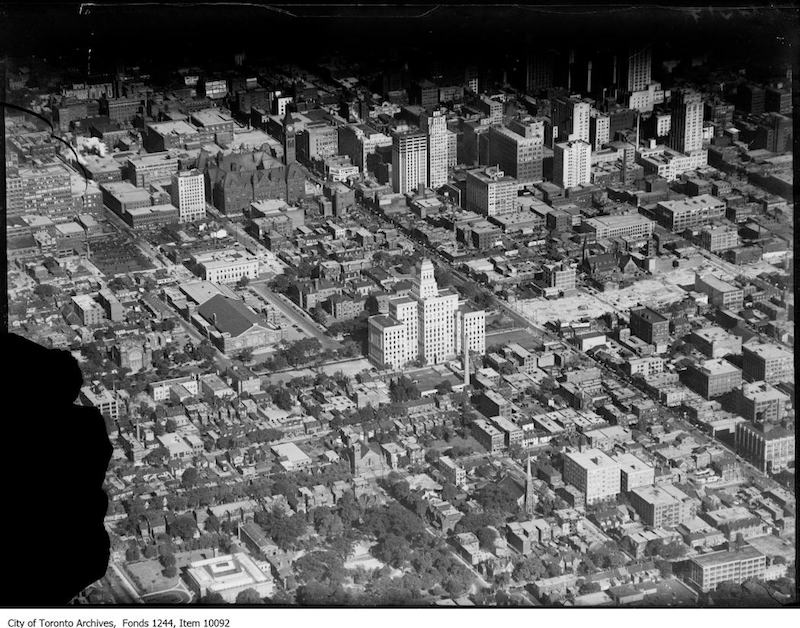 1930 - Aerial view of downtown from the northwest