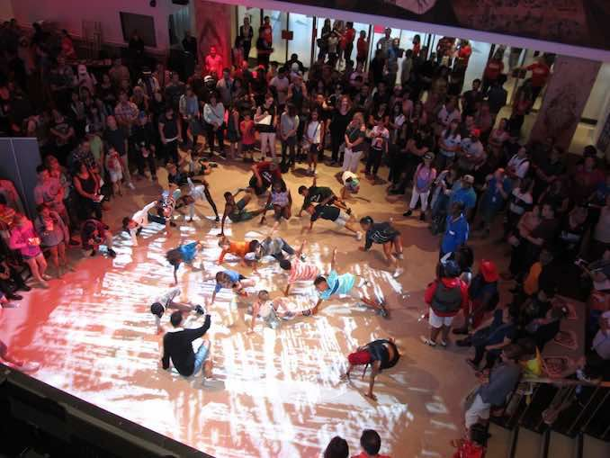 Breakin' Convention sample dance sessions in the lobby of Sony Centre 2
