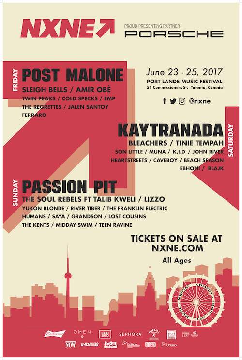 NXNE Port Lands Music Line-up! June 23 to 25.