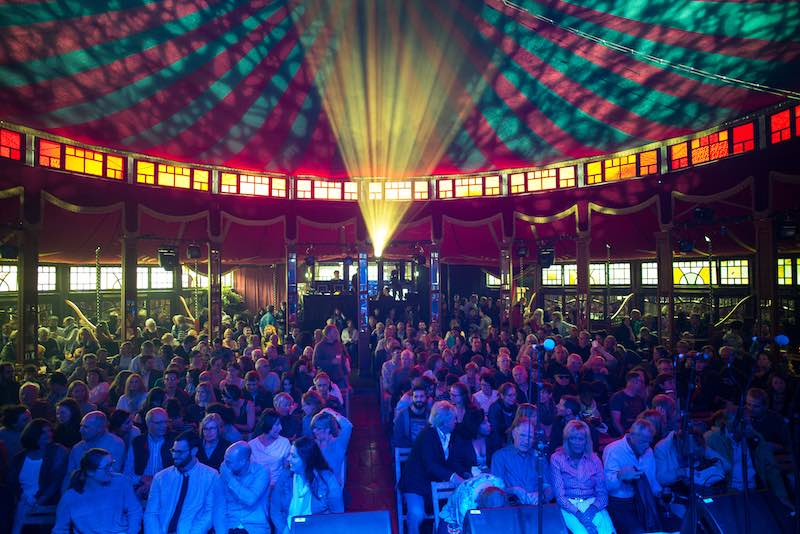 The Spiegeltent is a 1920s heritage travelling pavilion - a tent of mirrors!