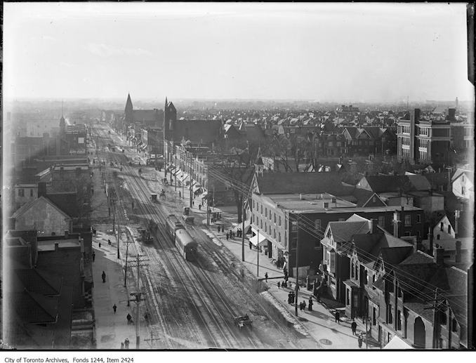 1911 - College Street from firehall tower, looking west