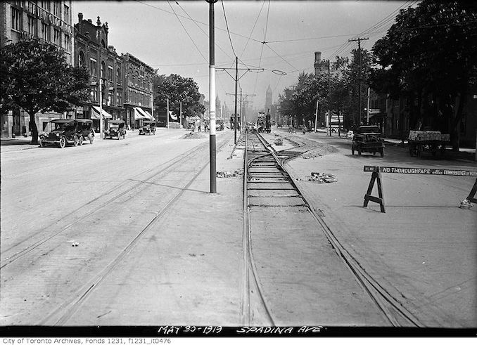 1919 - May 30 - Spadina Avenue looking north to College Street