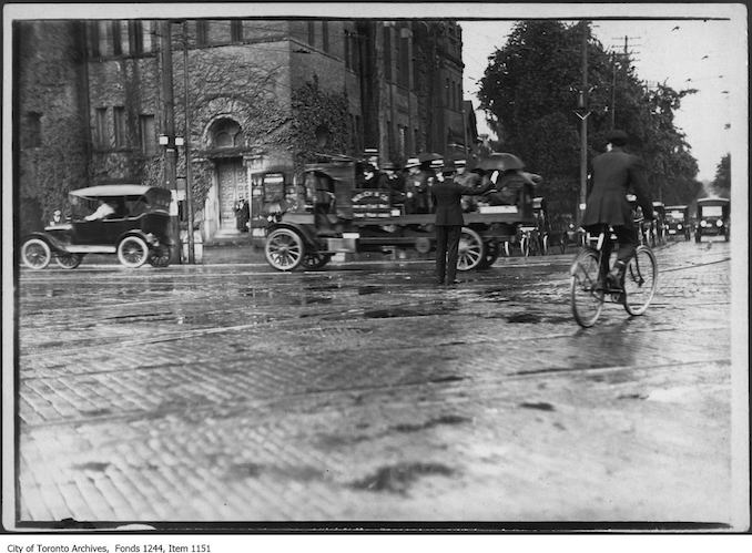 1919 - Northeast corner of College Street and Spadina Avenue during streetcar strike