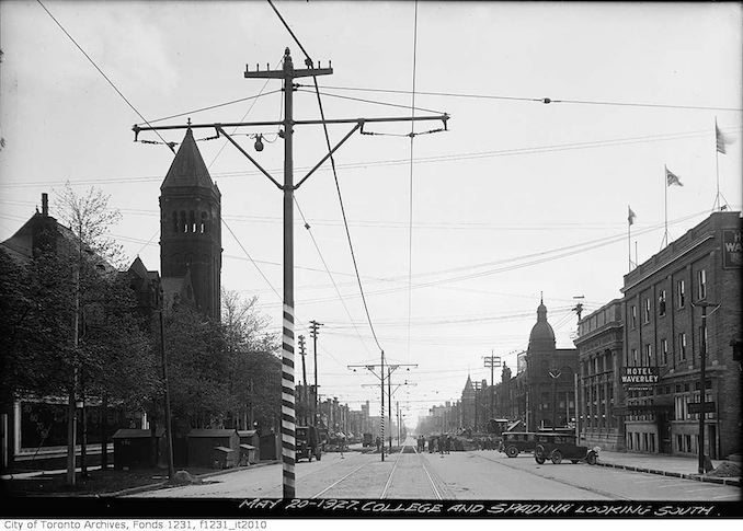 1927 - May 20 - College Street and Spadina Avenue looking south