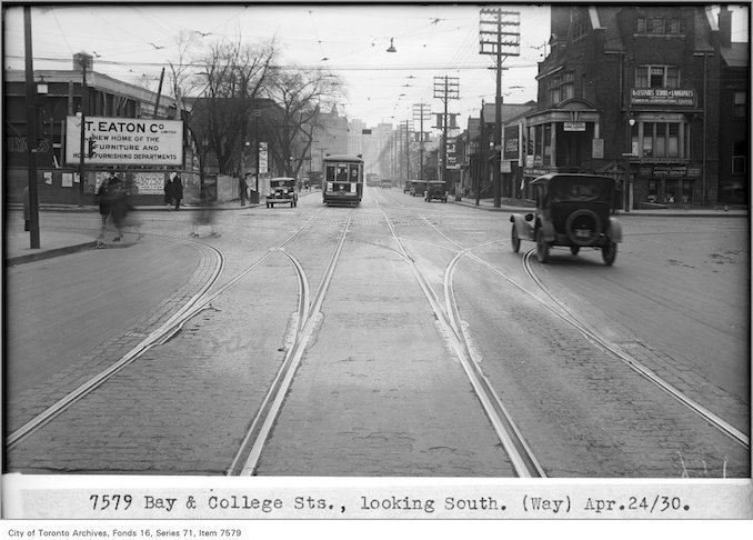 1930 - april 24 - Bay and College sts, looking south, (Way Department)