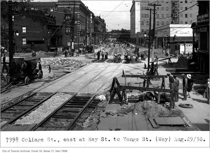 1930 - aug 29 -College St, east, at Bay St, to Yonge St, (Way Department)