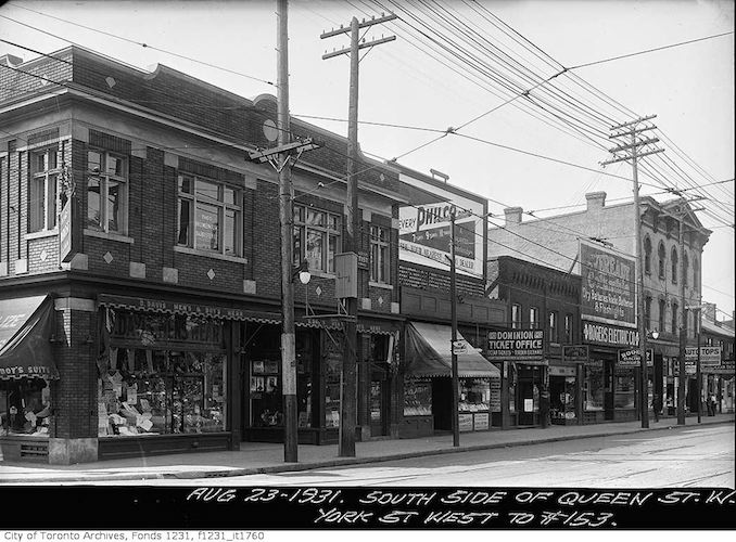 1931 - Queen Street showing stores on the south side York Street west to No. 153