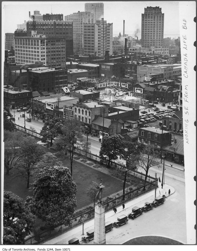 1932 - Looking southeast from Canada Life Building at University Avenue and Queen Street West