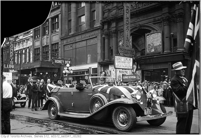 1932 - Mayor W.J. Stewart on Queen Street near Bay Street