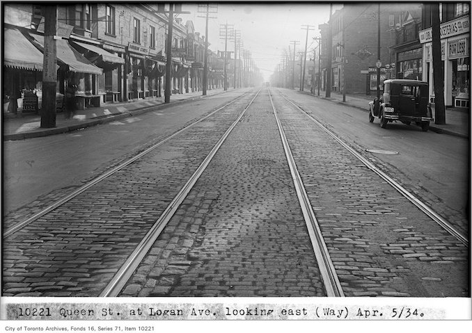 1934 - April 5 - Queen Street, at Logan Ave, looking east