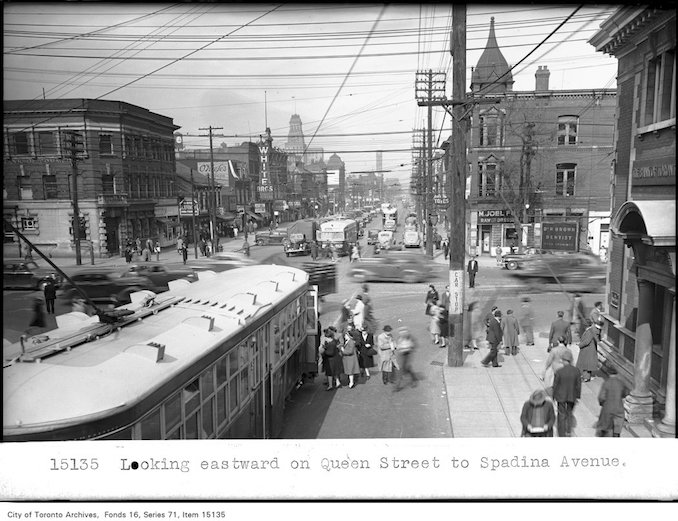 1945 - Looking eastward on Queen Street to Spadina Avenue