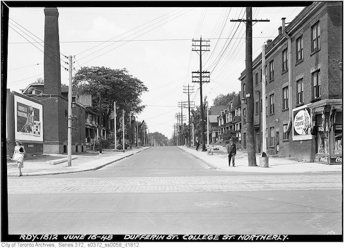1948 - June 16 - Dufferin Street between College and Bloor - before widening