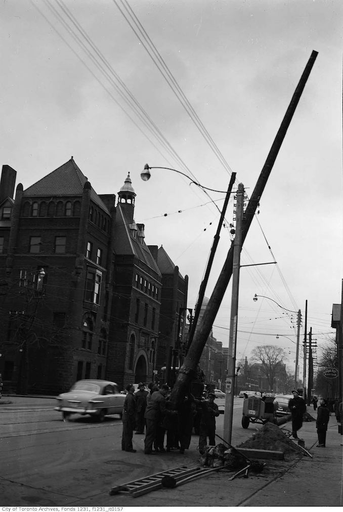 1953 - Dec - College Street west at Laplante Street (West of Bay Street)
