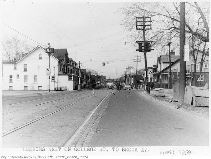 1959 - April - College Street looking west to Brock Avenue