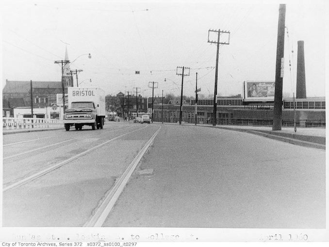 1960 - April - Dundas Street West, looking east to College Street