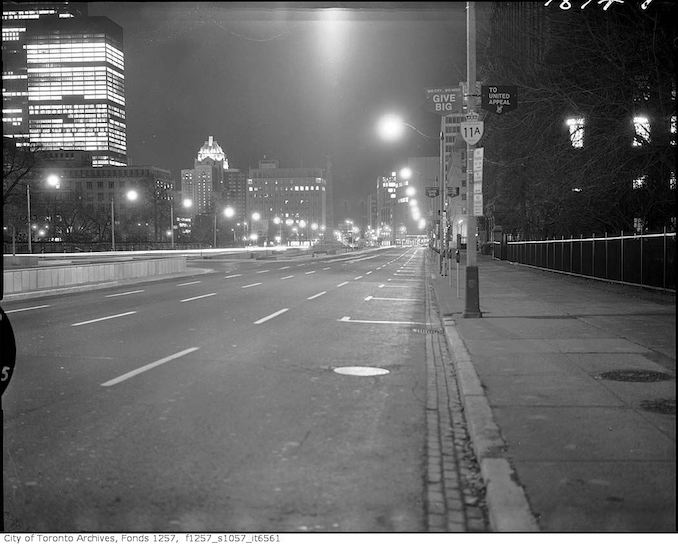 1969 - Nov 8 - University Avenue, looking south from north of Queen Street West