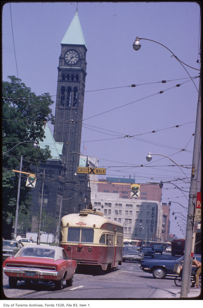 1971 - June 15 - View of original Eaton's store and Old City Hall at Yonge and Queen Street