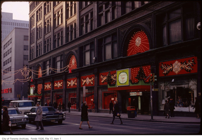1973 - Nov. 22 View of front of Simpson's with holiday decorations, Yonge and Queen Street West