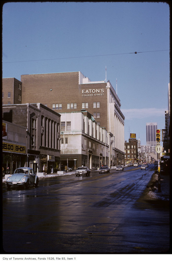 1974 - January 12 - View of Eaton's College Street store, looking north on Yonge Street just south of Gerrard Street