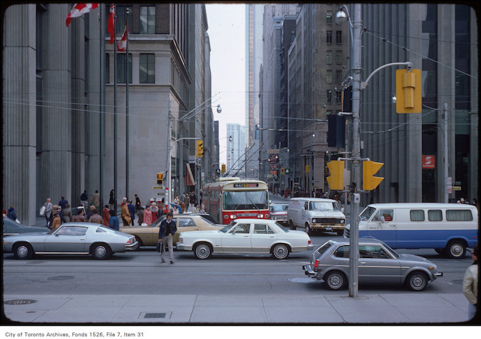 1977 - April 5 - View of traffic at the corner of Bay and Queen Street, view from Old City Hall