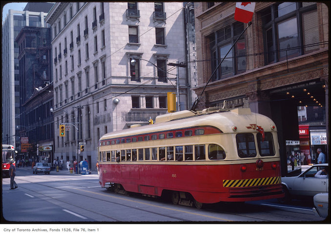 1983 - Aug. 31 - View of old streetcar at Queen Street West and Yonge Street