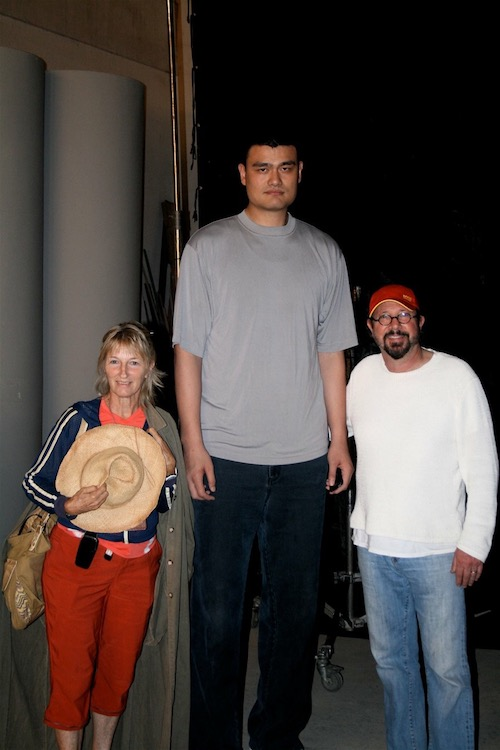 Myself, my producer Diana Young with Yao Ming the famous basketball player on set in Shanghai, China