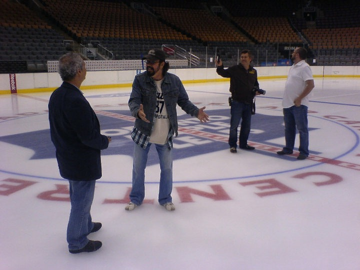 On the ice at the Air Canada Center laying out a shot for Breakaway.