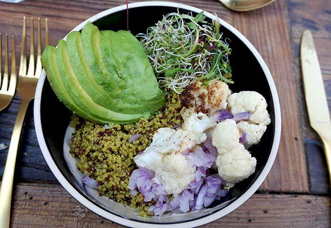 Golden Turmeric Cauliflower and Avocado Quinor Bowls