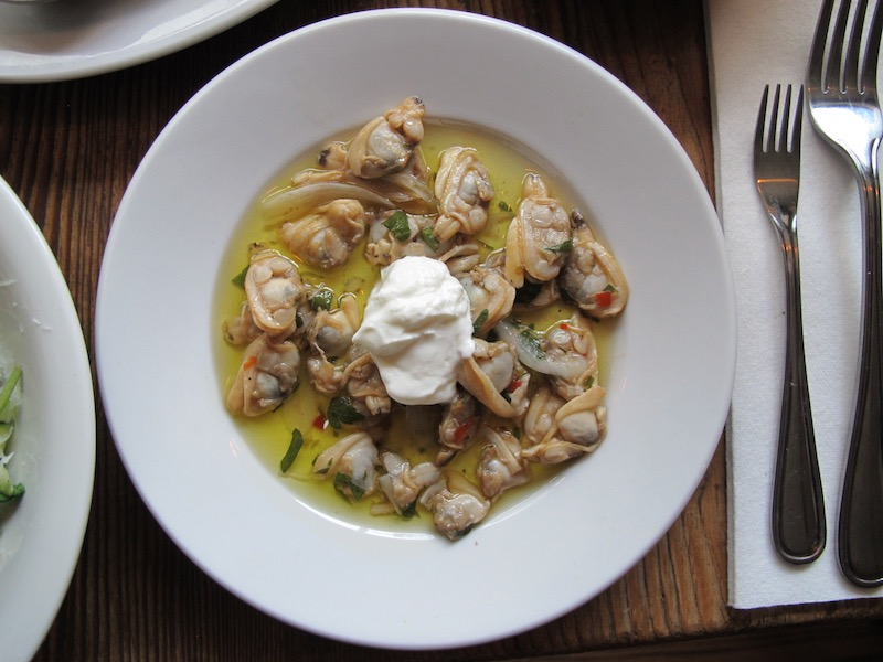Pickled Clams; oil, vinegar, topped with sour cream