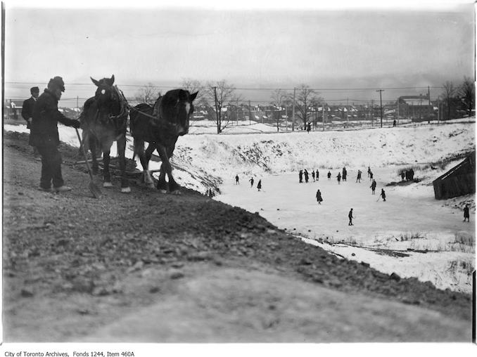 1909? - Skaters and workmen at Christie Pits - Old Hockey Photographs