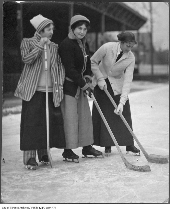 1910 - Women playing hockey in Varsity Arena