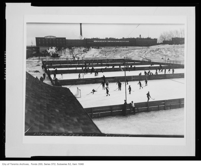 1934 - February 2nd - Riverdale Park - hockey rinks General Steel Wares Building in background