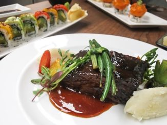 "Beef-Short-Rib-Slow-cooked-oven-braised-""AAA""-Grande-Angus-Beef-with-Wasabi-mashed-potato-pea-shoots-seasonal-veg.-in-sweet-glaze - katana"