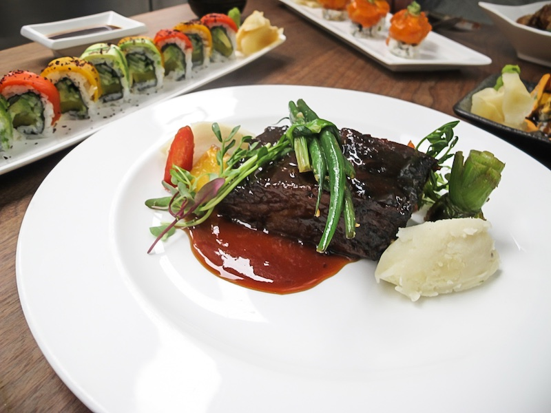 "Beef Short Rib - Slow cooked, oven braised ""AAA"" Grande Angus Beef with Wasabi mashed potato, pea shoots, seasonal veg. in sweet glaze"