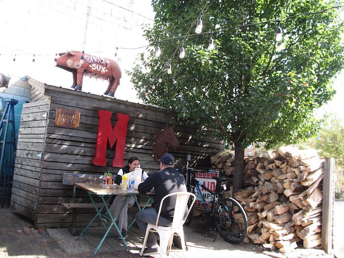 Day 3, patio lunch stop at Mercury Burger and Bar in Corktown. On Open Streets Detroit route.
