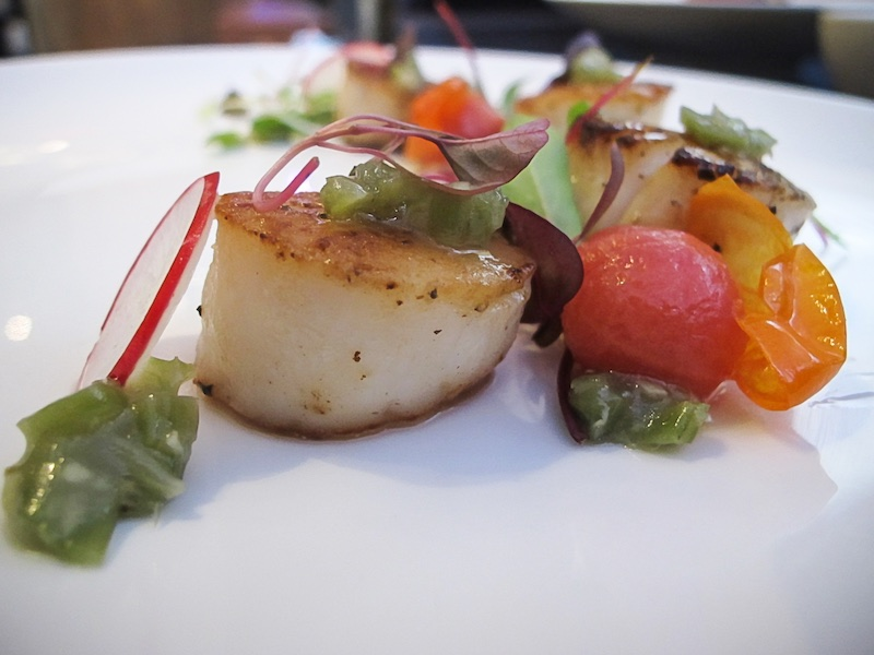 Pan Seared Wild Sea Scallop - Served with Miso-Remoulade sauce, microgreens, red radish and cherry tomato confit