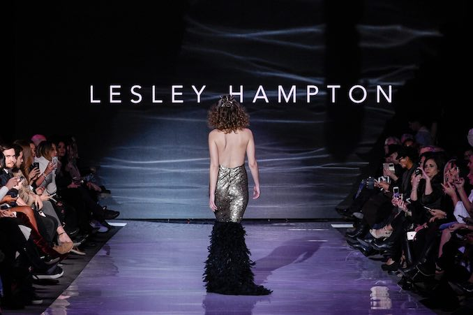 The Final Model at the LESLEY HAMPTON runway show for Fall Winter 2017 at Toronto Women's Fashion Week.