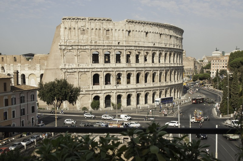 View of the Colosseum as seen from Aroma, Palazzo Manfredi's Michelin Star restaurant