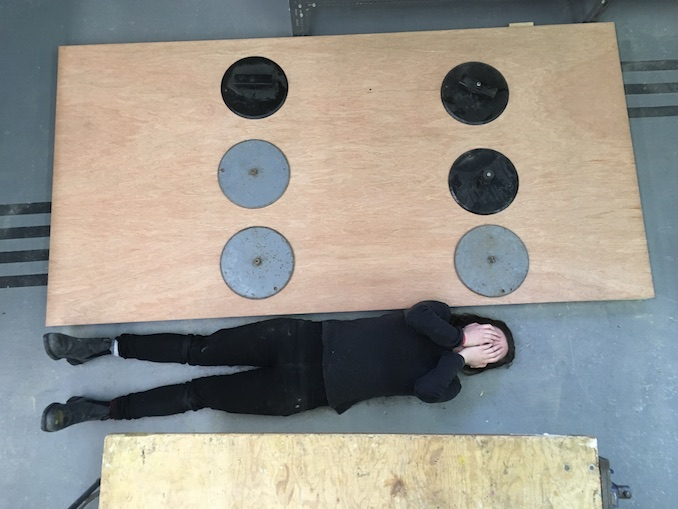 Me seriously questioning the size of the panel I had just built and would later use for my winning piece.