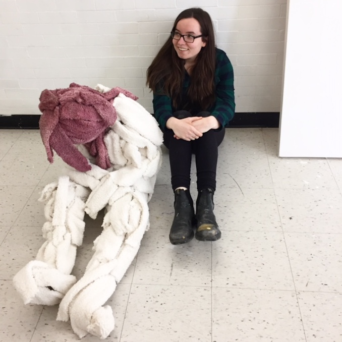 Me hanging out with an old sculpture. In the past I used to paint sculptures but costumes allow for more movement in the final painting.