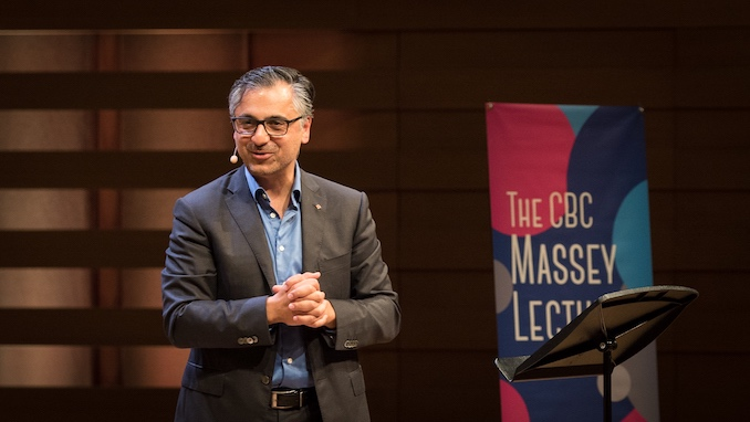 Payam Akhavan speaking in Toronto. In Search Of A Better World, 2017 CBC Massey Lectures.