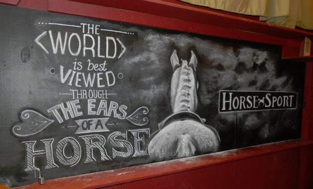 Horse Sport magazine chalk board art inside the saloon,