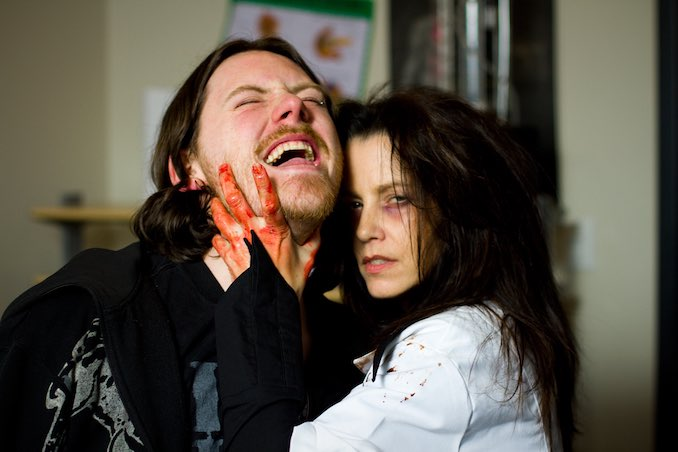 Ryan M. Andrews with actor Debbie Rochon on set of Sick