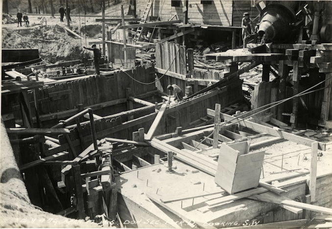 1915 - April 17 - Bloor Viaduct under construction, showing pier D