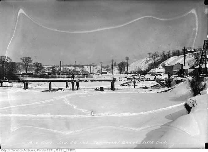 1915 - January 16 - Temporary bridge over Don River used for Bloor Street Viaduct construction